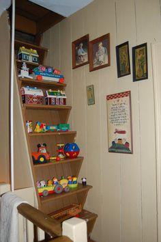 attic stairs as vintage toy display!