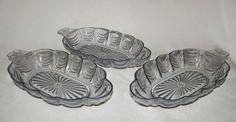 3 vtg large blue perspex plastic banana split sundae dessert dishes c1960s-70s
