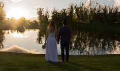 Just married + lake + sunset picture