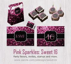 Pink sparkles Sweet 16 favor box, brownies, cake pops, invites and more by #PLdesign #PinkSparkles #Sweet16
