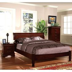 Uniquely designed to offer the comforts of a platform bed, this piece also provides a charming paneled headboard design that accentuates the lovely wood construction. The entire piece is lifted upon hourglass-like legs while finished in a warm cherry.