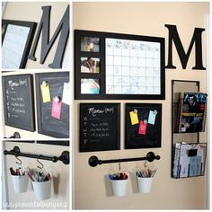 put a command center with spaces for mail, meal planning, and a calendar in the kitchen or mudroom for ultimate organization