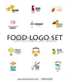 Vector set of restaurant logo design templates. Eco food, fast food, sushi, pizza icons, fish and sea food company insignia. Coffee and tea icons. Dish elements icons design. - stock vector