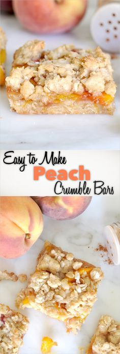 Easy-to-make Peach Crumble Bars For a quick, easy and mouthwatering summer treat. Easy-to-make Peach Crumble Bars For a quick, easy and mouthwatering summer treat try this fruity an Köstliche Desserts, Summer Desserts, Easy Picnic Desserts, Fruit Recipes, Gourmet Recipes, Dessert Recipes, Peach Recipes Easy, Recipes With Peaches, Vegetarian