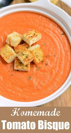 Tomato Bisque Soup Tomato Bisque is a creamy variation of a classic tomato soup with rich tomato flavors and smooth, creamy texture. Perfect creamy soup for the cold weather. Vegetarian Recipes, Cooking Recipes, Healthy Recipes, Carrot Recipes, Ham Recipes, Fudge Recipes, Shrimp Recipes, Pizza Recipes, Recipes Dinner