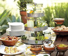 Mediterranean Party serving Tapas with earthy table setting Mason Jar Lanterns, Hanging Mason Jars, Fingers Food, Mezze, Tapas Party, Paella Party, Tapas Recipes, Spanish Tapas, Spanish Party