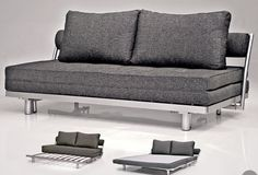 Venus Dark Grey Convertible Sofa Bed Sleeper King Size With 2 Matching Pillows