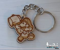 Paper Mario wood keyring OR charm accessory by TwikiConcept on Etsy
