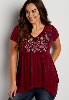 plus size tee with embroidery and lace (original price, $36.00) available at #Maurices