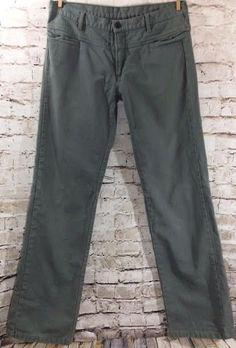 "DIESEL Olive Green Casual Pants Size 30 Men's 100% Cotton Straight Leg Fit 34"" #DIESEL #CasualPants"