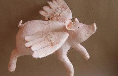 Flying pig coloring pages free printable animals for How to make paper mache waterproof