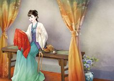 Chinese Drawings, Chinese Art, Art Drawings, Ancient Beauty, Fantasy Paintings, Illustration Girl, Traditional Chinese, Hanfu, Asian Art