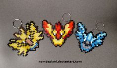 Legendary Pokemon Perler Keychains by NomDePixel