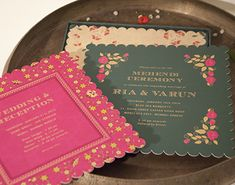 Scalloped wedding card , bright pink and mehendi green
