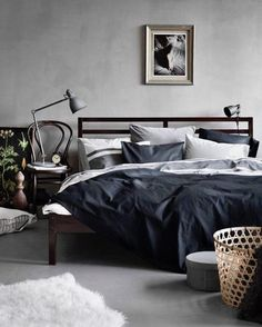 Grey Bedroom For Guys - Best Men's Bedroom Ideas: Cool Masculine Bedroom Decor, Designs and Styles F