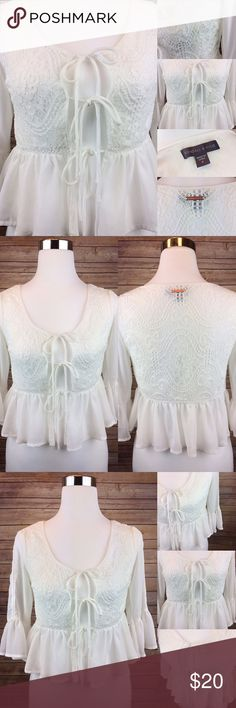 Kendall & Kylie Kardashian Tie Front Lace Top Sold Out in stores! New without tags. Beautiful 3 tie front lace top to go with your high wasted faded denim shorts! Darling and very versatile. Brand: Kendal & Kylie. Size: Small Kendall & Kylie Tops Blouses