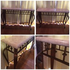 Very beautiful marble scrolled wrought iron console table 1930s
