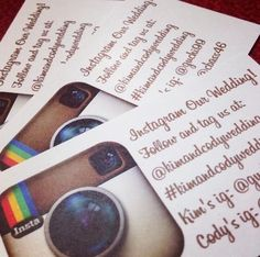 Instagram Wedding! What a great way to see your wedding through your guests eyes!