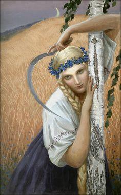 """Konstantin Vasiliev """"Campesina"""" (1966). Obra de signo lunar: hoz y luna creciente, y la cabeza de la campesina, su brazo y su hoz forman un corazón. El artista ha captado aquí con bastante precisión lo que es la raza nordico-blanca."""