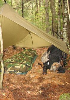 """The Supertarp is truly a solo hunters """"home away from home"""", giving you enough floor space for any amount of gear. The Supertarp will also be a great option for a buddy team when """"steep, deep and long"""" is in your future. Bushcraft Gear, Bushcraft Camping, Camping Survival, Camping Hacks, Canoe Camping, Camping Style, Outdoor Camping, Survival Shelter, Wilderness Survival"""