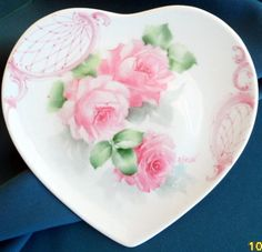 Hand Painted Soft Pink Roses Scrolls 8in China Heart Plate Shabby SHIP Disc | eBay