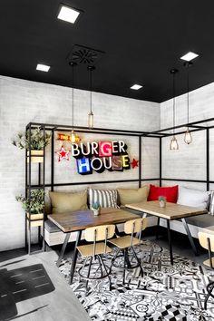 Burger House von Keratsini Goody von Chadios + Associates - The Greek Foundation - Restaurants & Bars - Lebensmittel Bar Interior, Restaurant Interior Design, Coffee Shop Design, Cafe Design, House Design, Restaurant Bar, Fast Food Restaurant, Café Bar, Home And Deco
