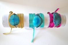 agate stone leather wrap bracelets by oia jules. love this but most definitely a DIY project