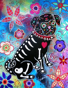 Folk Art Painting Mexican Artist Day of the Dead Pug by prisarts, $199.00