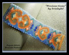 Precious Gems Peyote Pattern by TrinityDJ Peyote Patterns, Bracelet Patterns, Beading Patterns, Peyote Bracelet, Woven Bracelets, Peyote Stitch, Brick Stitch, Bead Weaving, Seed Beads