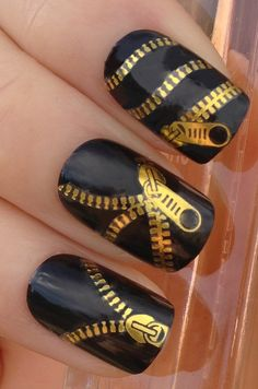 nails.quenalbertini: Gold & black open zipper zips nails
