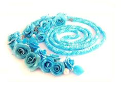 Bead Crochet Necklace lariat blue-white and rose  blue. $70.00, via Etsy.