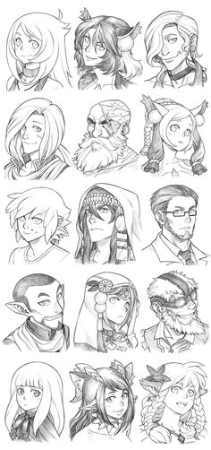 151227 - Headshot Commissions Sketch Dump 14 by Runshin