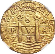 Peru: Felipe V gold Cob 8 Escudos 1712-M Lima