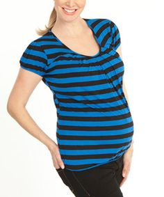 Angel Maternity Blue & Black Stripe Maternity/Nursing Modal-Blend Scoop Neck Tee | zulily