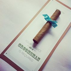 "Cigar ""Will You Be My Groomsman"" Card and Envelope. $8.50, via Etsy."