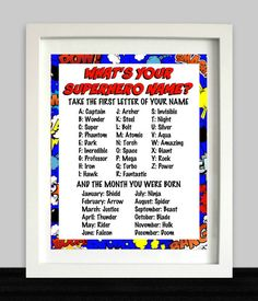 Superhero Party Sign // What's Your Superhero Name // Superhero Birthday // Superhero Name // Superhero Party Decor // Superhero Printable Avengers Birthday, Batman Birthday, Superhero Birthday Party, 6th Birthday Parties, Third Birthday, Boy Birthday, Birthday Ideas, Avenger Party, Superhero Party Games