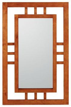 Craftsman style mirror.  Can be hung either portrait or landscape.  $38.99. repaint and finish into room color?