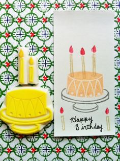 cake rubber stamp. hand carved rubber stamp. handmade rubber stamp. wedding. birthday. 2candles. set of 3. no2.. $17.00, via Etsy.