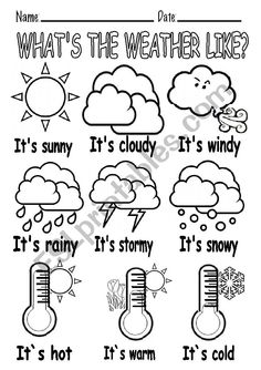 Weather Activities Preschool, Teaching Weather, Weather Vocabulary, Learning English For Kids, English Worksheets For Kids, English Lessons For Kids, Weather Worksheets, Vocabulary Worksheets, Printable Preschool Worksheets