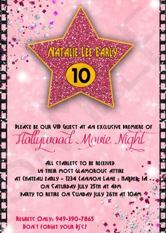 Hollywood Movie Night Child's Birthday Sleepover Invitation - Pretty In Pink, Glitter, Diva, Classic Movie Party, Slumber Party by EventsYouCanPrint on Etsy