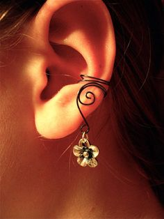Pair of Hematite ear cuffs with cute flower charms