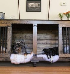 The first beautiful decorative indoor wooden dog kennel built for two dogs! It's more than a wooden dog crate, but truly inspiring dog crate furniture! Dog Crate Table, Wooden Dog Crate, Dog Crate Furniture, Diy Dog Crate, Office Furniture, Diy Furniture, Wallpaper Furniture, Rustic Furniture, Custom Dog Kennel