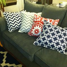 Bright pillows for the gray couch!