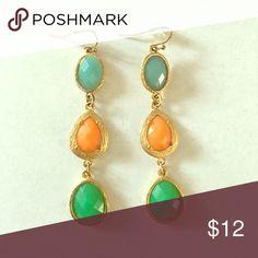 Blue, Orange, and Green Dangly Earrings Beautiful gold earrings! Jewelry Earrings