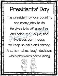 Presidents Day  - Printable Poem for Kids