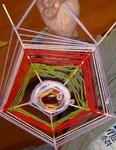 Een kastanje....vijf satéstokjes....en restjes wol. En zo maak je een spinnenweb!
