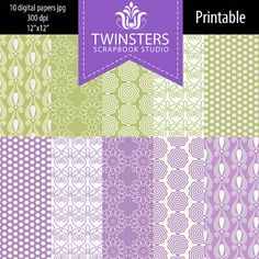 Pastel purplegreen digital paper collection TW084 by Twinsters, $5.00