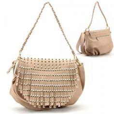 Gold Metal Studs / Spikes / Tassels Purse and Bag / Handbag / Pink Beige / Rchf253npnk,$32.99