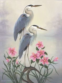 I like the color and shape of these herons. The foliage is also pretty, but maybe different flowers in a different color.