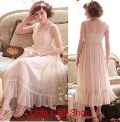 Pretty Kawaii Princess Cute Sweet Dolly Lolita Chiffon Lace Long Dress Pink